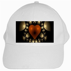 Fractal Of A Red Heart Surrounded By Beige Ball White Cap