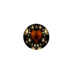 Fractal Of A Red Heart Surrounded By Beige Ball 1  Mini Magnets