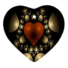 Fractal Of A Red Heart Surrounded By Beige Ball Ornament (heart)