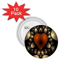 Fractal Of A Red Heart Surrounded By Beige Ball 1 75  Buttons (10 Pack)
