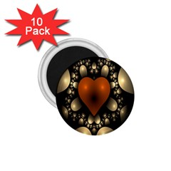 Fractal Of A Red Heart Surrounded By Beige Ball 1.75  Magnets (10 pack)