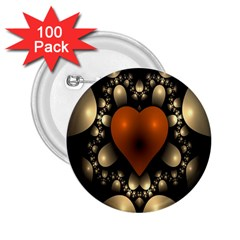Fractal Of A Red Heart Surrounded By Beige Ball 2 25  Buttons (100 Pack)
