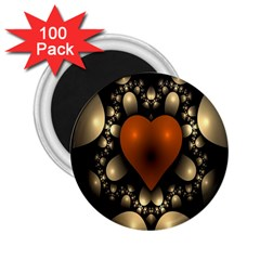 Fractal Of A Red Heart Surrounded By Beige Ball 2 25  Magnets (100 Pack)