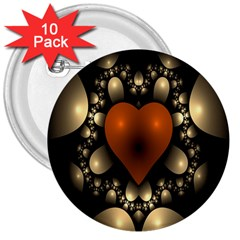 Fractal Of A Red Heart Surrounded By Beige Ball 3  Buttons (10 Pack)