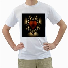 Fractal Of A Red Heart Surrounded By Beige Ball Men s T Shirt (white) (two Sided)