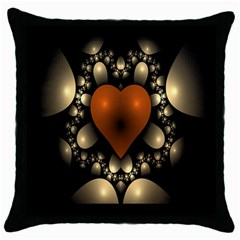 Fractal Of A Red Heart Surrounded By Beige Ball Throw Pillow Case (Black)