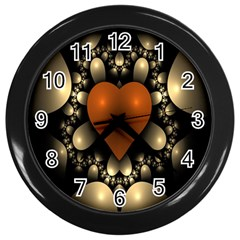Fractal Of A Red Heart Surrounded By Beige Ball Wall Clocks (Black)