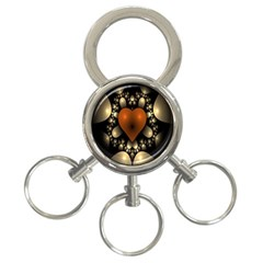 Fractal Of A Red Heart Surrounded By Beige Ball 3-Ring Key Chains