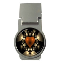 Fractal Of A Red Heart Surrounded By Beige Ball Money Clips (round)