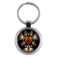 Fractal Of A Red Heart Surrounded By Beige Ball Key Chains (round)