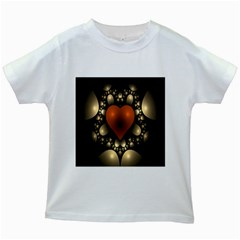 Fractal Of A Red Heart Surrounded By Beige Ball Kids White T-Shirts