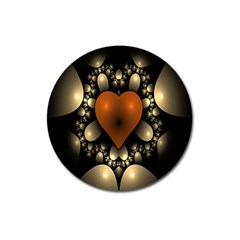 Fractal Of A Red Heart Surrounded By Beige Ball Magnet 3  (round)