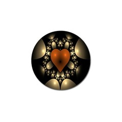 Fractal Of A Red Heart Surrounded By Beige Ball Golf Ball Marker
