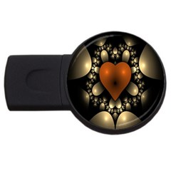 Fractal Of A Red Heart Surrounded By Beige Ball USB Flash Drive Round (1 GB)