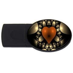 Fractal Of A Red Heart Surrounded By Beige Ball Usb Flash Drive Oval (2 Gb)