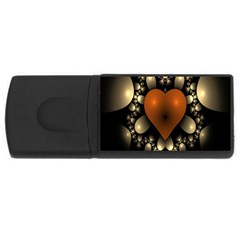 Fractal Of A Red Heart Surrounded By Beige Ball USB Flash Drive Rectangular (1 GB)