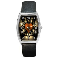 Fractal Of A Red Heart Surrounded By Beige Ball Barrel Style Metal Watch