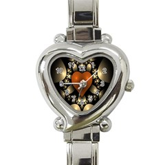 Fractal Of A Red Heart Surrounded By Beige Ball Heart Italian Charm Watch