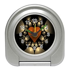 Fractal Of A Red Heart Surrounded By Beige Ball Travel Alarm Clocks