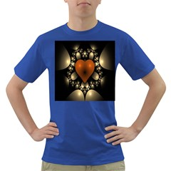 Fractal Of A Red Heart Surrounded By Beige Ball Dark T-Shirt