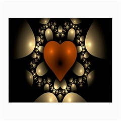 Fractal Of A Red Heart Surrounded By Beige Ball Small Glasses Cloth