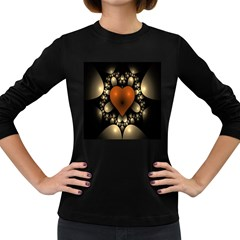 Fractal Of A Red Heart Surrounded By Beige Ball Women s Long Sleeve Dark T Shirts