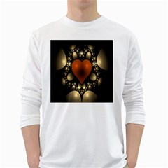 Fractal Of A Red Heart Surrounded By Beige Ball White Long Sleeve T Shirts