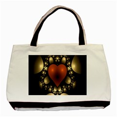 Fractal Of A Red Heart Surrounded By Beige Ball Basic Tote Bag