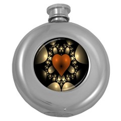 Fractal Of A Red Heart Surrounded By Beige Ball Round Hip Flask (5 Oz)