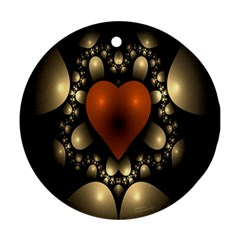 Fractal Of A Red Heart Surrounded By Beige Ball Round Ornament (Two Sides)