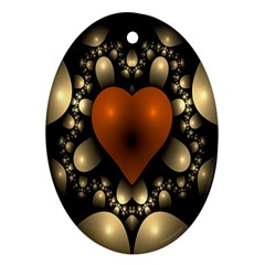 Fractal Of A Red Heart Surrounded By Beige Ball Oval Ornament (Two Sides)