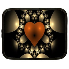 Fractal Of A Red Heart Surrounded By Beige Ball Netbook Case (xl)
