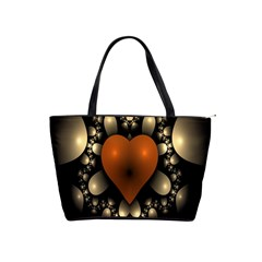 Fractal Of A Red Heart Surrounded By Beige Ball Shoulder Handbags