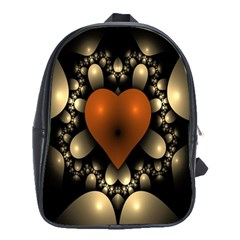 Fractal Of A Red Heart Surrounded By Beige Ball School Bags(large)