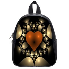 Fractal Of A Red Heart Surrounded By Beige Ball School Bags (small)
