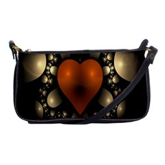 Fractal Of A Red Heart Surrounded By Beige Ball Shoulder Clutch Bags