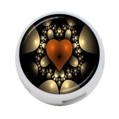 Fractal Of A Red Heart Surrounded By Beige Ball 4-Port USB Hub (One Side)