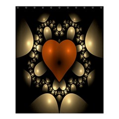 Fractal Of A Red Heart Surrounded By Beige Ball Shower Curtain 60  X 72  (medium)