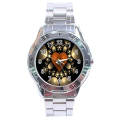 Fractal Of A Red Heart Surrounded By Beige Ball Stainless Steel Analogue Watch