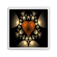 Fractal Of A Red Heart Surrounded By Beige Ball Memory Card Reader (square)