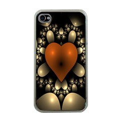 Fractal Of A Red Heart Surrounded By Beige Ball Apple iPhone 4 Case (Clear)