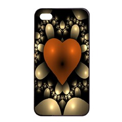 Fractal Of A Red Heart Surrounded By Beige Ball Apple iPhone 4/4s Seamless Case (Black)