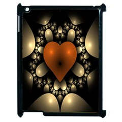 Fractal Of A Red Heart Surrounded By Beige Ball Apple Ipad 2 Case (black)
