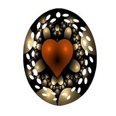 Fractal Of A Red Heart Surrounded By Beige Ball Ornament (Oval Filigree)