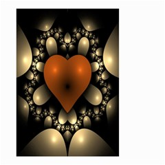 Fractal Of A Red Heart Surrounded By Beige Ball Small Garden Flag (Two Sides)