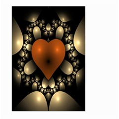 Fractal Of A Red Heart Surrounded By Beige Ball Large Garden Flag (Two Sides)