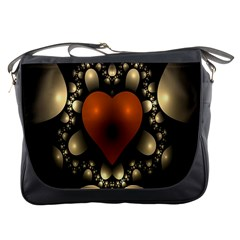 Fractal Of A Red Heart Surrounded By Beige Ball Messenger Bags