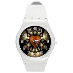 Fractal Of A Red Heart Surrounded By Beige Ball Round Plastic Sport Watch (M)
