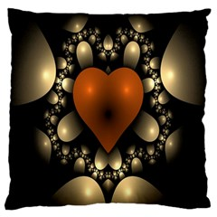 Fractal Of A Red Heart Surrounded By Beige Ball Large Cushion Case (Two Sides)