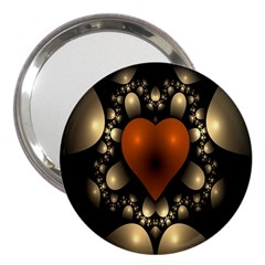 Fractal Of A Red Heart Surrounded By Beige Ball 3  Handbag Mirrors